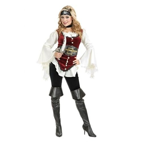 OvedcRay Adult Womens Lady White Pirate Blouse Peasant Renaissance Wench Costume Shirt