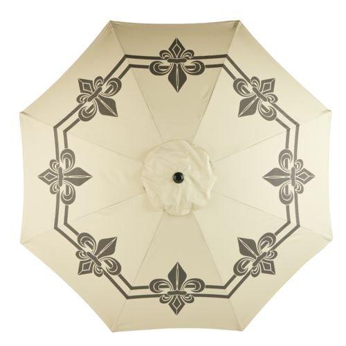 Mosaic 9 Ft Outdoor Patio Round Steel Market Beach Umbrella (Beige/Brown)