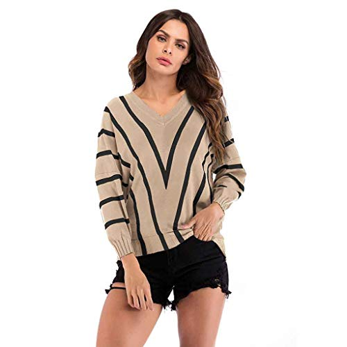 AOJIAN Women Hoodie Long Sleeve V-Neck Stripe Slim Jumper Sweater Sweatshirts Pullover Khaki