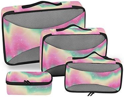 パステルカラーの抽象芸術荷物パッキングキューブオーガナイザートイレタリーランドリーストレージバッグポーチパックキューブ4さまざまなサイズセットトラベルキッズレディース
