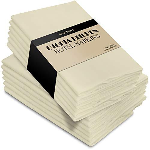 Utopia Kitchen Cloth Napkins, 12 Pack (18 x 18 Inches), Ivory Dinner Napkins