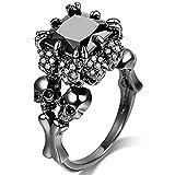 Jude Jewelers Women Black Skull Gothic Cocktail Party Halloween Biker Ring (Black, 7)