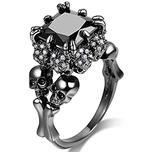 Jude Jewelers Women Black Skull Gothic Cocktail Party Halloween Biker Ring (Black, 7) -