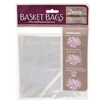 Basket Bag (Clear Plastic Basket Bags, 2-ct. Pack- 24 In. X 30 In.)