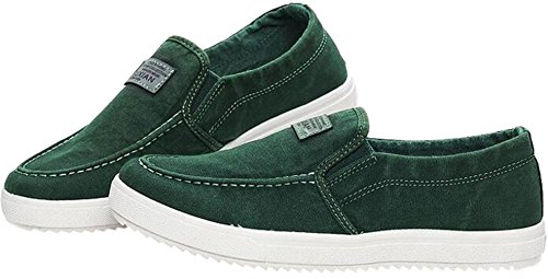 PPXID Mens Canvas Slip On Loafers Sneakers Casual Board Shoes Green GK2oY9