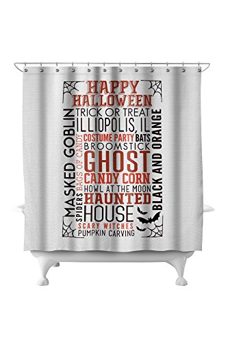 Illiopolis, IL - Happy Halloween - Typography with Bats (71x74 Polyester Shower Curtain)
