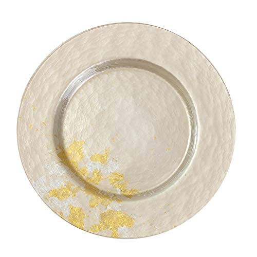 Syosaku Japan Urushi Glass Dinner Plate Φ12.5-inch Majestic White with Gold Leaf, Dishwasher Safe