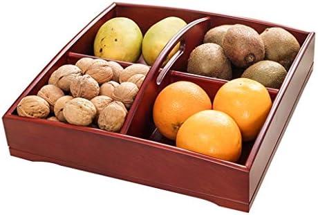 フルーツボウル 木製ナットボックスフルーツボウルストレージは、ハンドルとラック乾燥し、大容量のパーティションキッチンカウンターとリビングルームスナック菓子キャンディナッツトレイプレートディスプレイスタンド、25x5cm