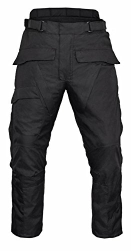 Men's Motorcycle Waterproof Over-Pants Full Side Zip with Removable CE Armor Black by Xtreemgear