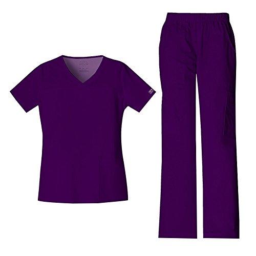 Cherokee Women's Workwear Core Stretch V-Neck Top 4727 & Mid Rise Pull On Cargo Pant 4005 Scrub Set (New Eggplant - X-Small/XXSmall Petite)