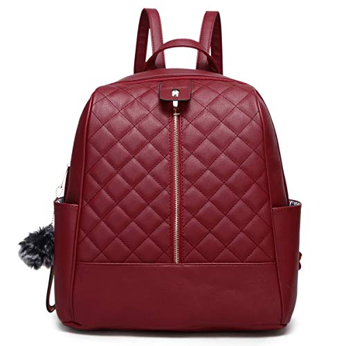 Faux Leather Backpack Purse for Women, XB Waterproof Purse Fashion Backpack New Version 2019 (Wine)