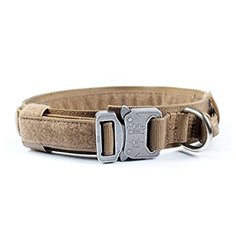 Yisibo Tactical Dog Adjustable Collar Military Training Harness Molle Nylon Dog Collars Leash With Handle Steel Buckle 1.5''Coyote Brown L - Impermeabile Collare Per Il Controllo
