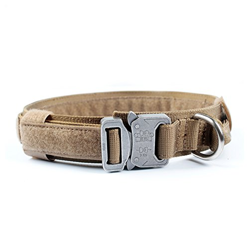 Yisibo Tactical Dog Adjustable Collar Military Training Harness Molle Nylon Dog Collars Leash With Handle Steel Buckle 1.5''Coyote Brown L