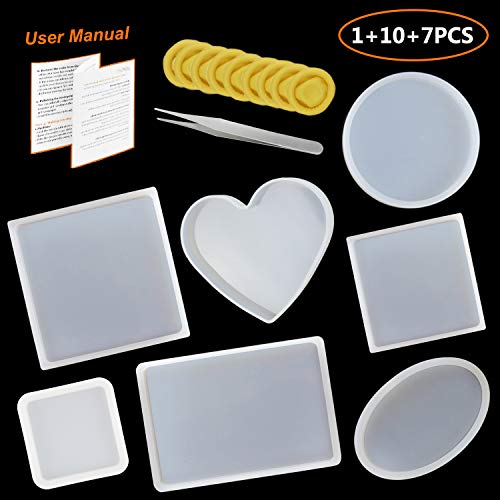 LETS RESIN Silicone Resin Molds 7pcs Resin Casting Molds including Round, Square, Rectangle, Ellipse, Heart Coaster Molds, Epoxy Resin Molds for DIY Coasters, Home Decoration & Christmas Gift