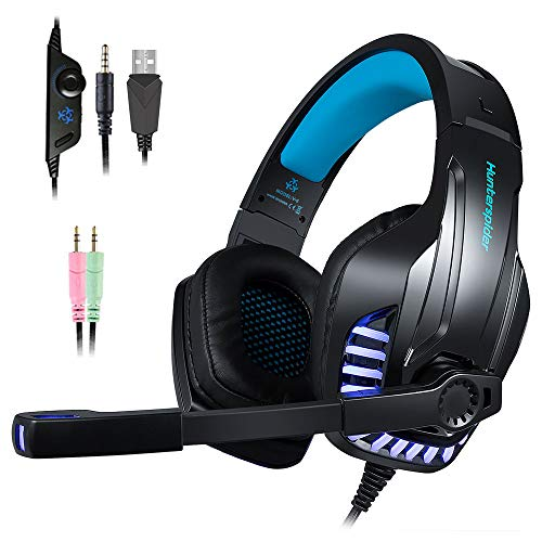 PS4 Gaming Headset with Mic for PC, Xbox One S, Laptop, Mac, Stereo Over Ear Gamer Headphones with Microphone LED Lights, Noise Cancelling for Computer, Ipad, Smartphone, Nintendo Switch - Blue