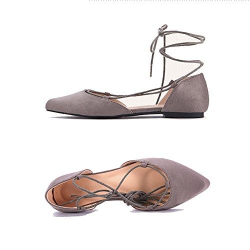 Riemen Farben größe 250mm Spitze L Flachboden Frühling Tanz Zehen Schwarz 5 UK6 Farbe Schuhe PENGFEI EU40 Ballet Sandalen Stiefeletten Damen 2 Sw8Fq7qp