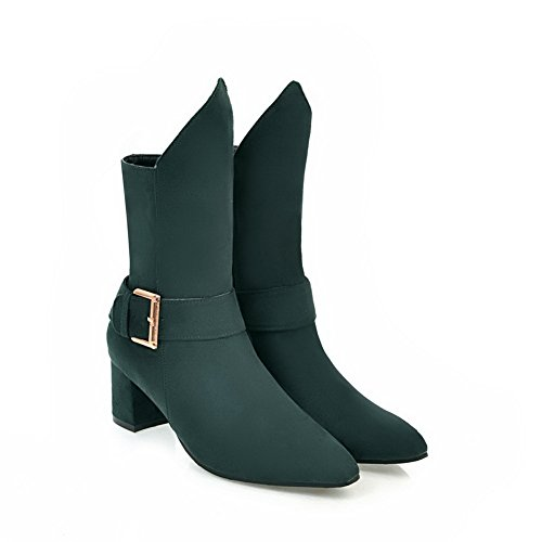Heels Velvet Chunky Microsuede Womens nbsp;Lining SXC02685 Pointed nbsp; AdeeSu Green Boots Toe B5XExwn5q