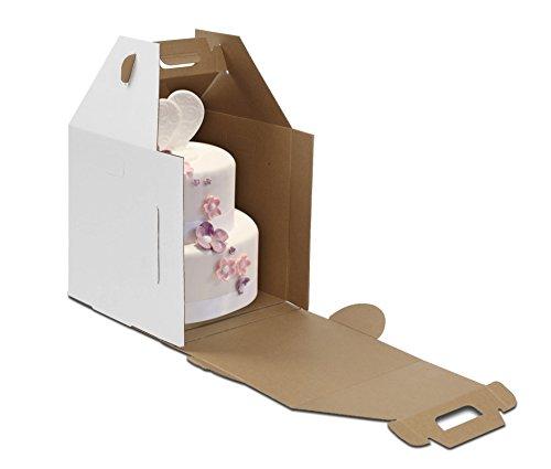 W PACKAGING WPTC1214WKE 12x12x14 White/Kraft Plain Tiered Cake Box, No Window, Lock Corner, E-Flute (Pack of 10)