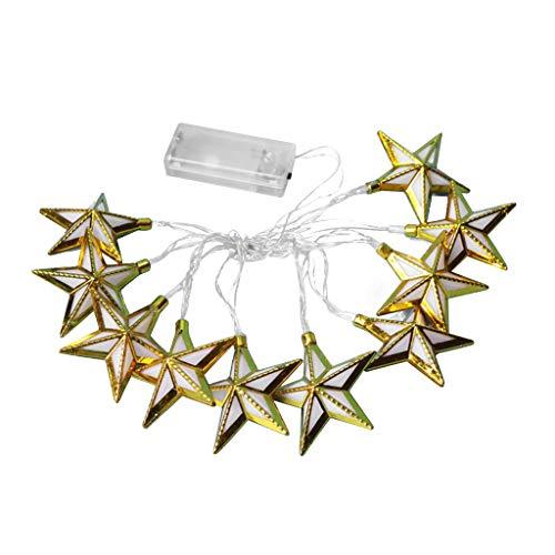 Masun Gold Stars 10 Lights LED Yellow Five Stars Ramadan Lanterns Muslim Festival Celebration Lighting Wedding
