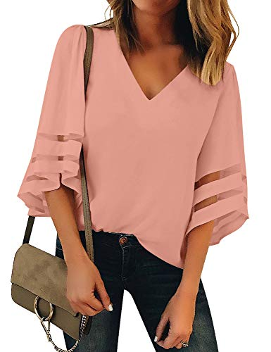 Utyful Women's Baby Pink Casual V Neck Mesh Panel 3/4 Bell Sleeve Solid Loose Blouse Top Small