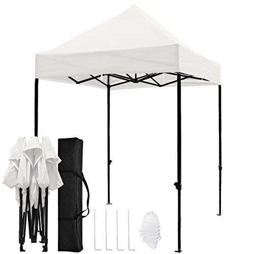 TopCamp 5'x5' Portable Canopy Tent, Pop up Heavy Duty Outdoor Waterproof Beach Party Tents Instant Sun Shelter - White