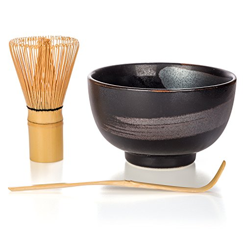 Tealyra - Matcha - Start Up Kit - 3 items - Matcha Green Tea Gift Set - Japanese Made Black Bowl - Bamboo Whisk and Scoop - Gift - Bowls 3 Black