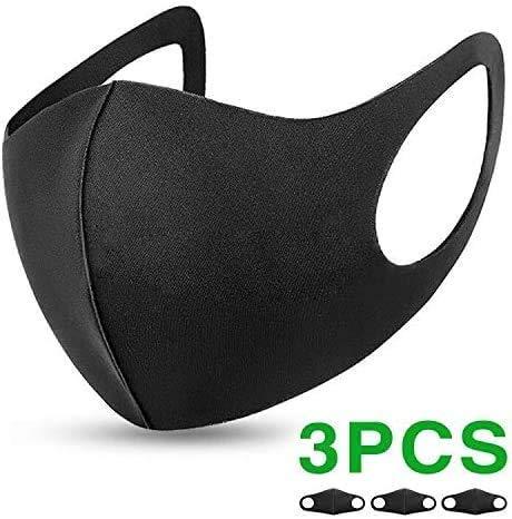 Flyglobal 3Pack Máscara Antipolvo para la Boca, Reutilizable, Lavable, Unisex, Color Negro