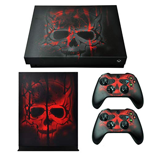 eXtremeRate Full Set Faceplates Cover, Home Guide Button Decal, Console Controller Skin Sticker for Xbox One X - Skull Soul from eXtremeRate
