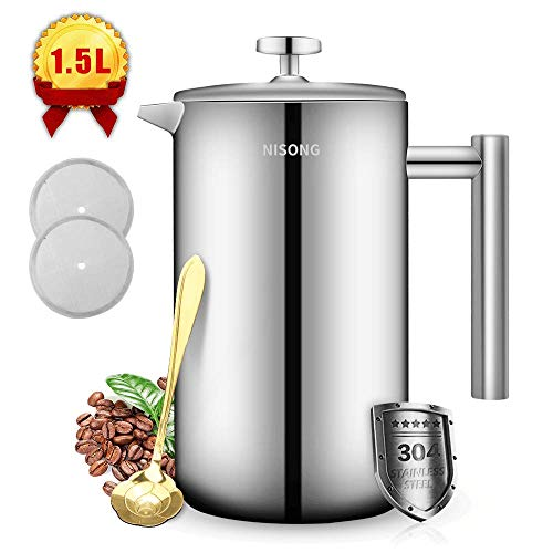 French Press Coffee Maker Double Walled Stainless Steel (50 Oz-1.5L) Coffee/Tea Maker with Extra Filter Screens, Dishwasher Safe (12 Cup) ()
