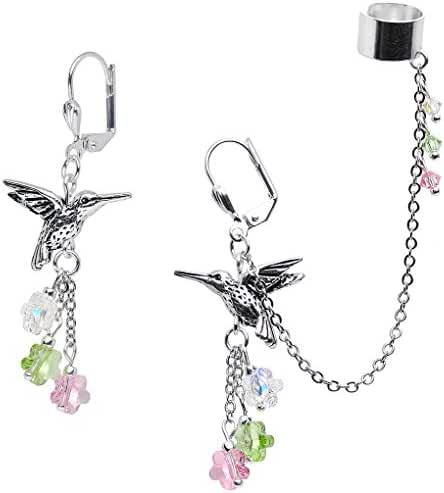 Body Candy Handcrafted Silver Plated Hummingbird Cuff Chain Earring Created with Swarovski Crystals