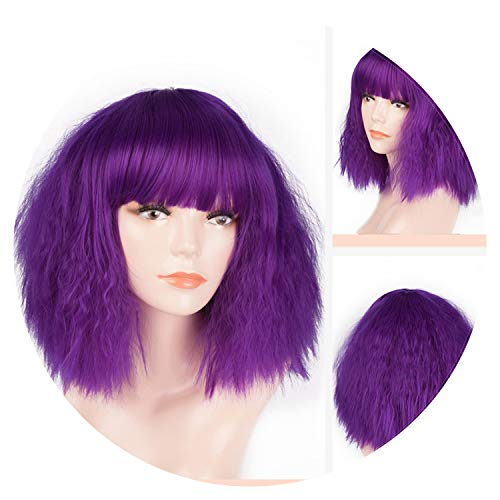 world-palm 12inch Synthetic Short Kinky Straight Bangs Bob Wigs Cosplay Red Grey 29 Colors Costume Wig Women Party,#35,10inches, ()