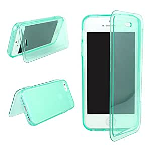 Leathlux Clear TPU Gel Flip Soft Skin Case Cover for Apple iPhone 5 5S Skyblue