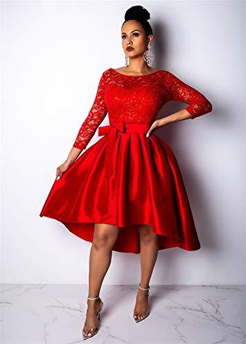 Vintage Cuello La Red Swing Cóctel Lentejuelas Encaje Mujer Redondo Dama Vestido De Formal Honor qxRp6wXxYS