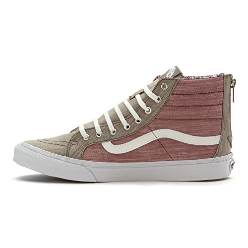 939d0a50a889af Vans Unisex SK8-Hi Slim Zip Floral Chambray Sneakers-Floral Chambray Gray-