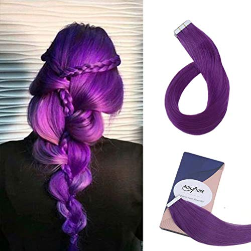 RUNATURE Hair Extensions Seamless Tape in Skin Weft Brazilian Remy Human Hair 14Inch 10pcs/20g Purple Color Glue Tape in on Hair Extensions for Fashion Girl