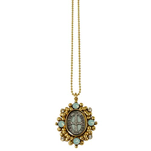 San Benito Oval Charm Necklace - Gold + Pacific Opal - VSA - Virgins Saints Angels Jewelry