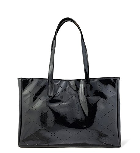 Hoxis Mesh Glamour Patent Faux Leather Shopper Tote Womens Shoulder Handbag (Black) - Leather And Patent Leather Tote Bag