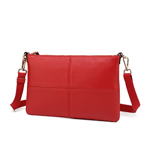Women Leather Crossbody Bag,Clutch Purse Shoulder Bag for Travelling Red - Red Women Leather