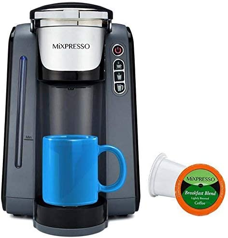 Mixpresso - Single Serve K-Cup Coffee Maker Coffee Machine Compatible With 1.0 2.0 K-Cup Pods Removable 45oz Water Tank Quick Brewing with Auto Shut-Off One Touch Function In GREY WHITE