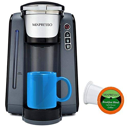 Mixpresso – Single Serve K-Cup Coffee Maker Coffee Machine Compatible With 1.0 2.0 K-Cup Pods Removable 45oz Water Tank Quick Brewing with Auto Shut-Off One Touch Function In GREY WHITE