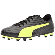 PUMA Men's Spirit FG Soccer Shoes, Black/Fizzy Yellow/Castor Gray, 10.5 M US