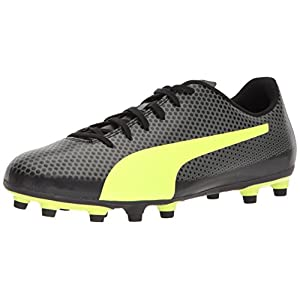 PUMA Men's Spirit FG Soccer Shoe, Black-Fizzy Yellow-Castor Gray, 8.5 M US