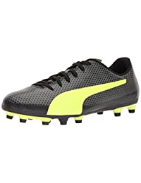 PUMA Men's Spirit FG Soccer Shoes, Black/Fizzy Yellow/Castor Gray, 10.5 M US