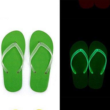 Unisex sandalias Primavera Verano Otoño confort luminoso Novedad Zapato Casual al aire libre PU Stiletto talón talón plano caminando Green