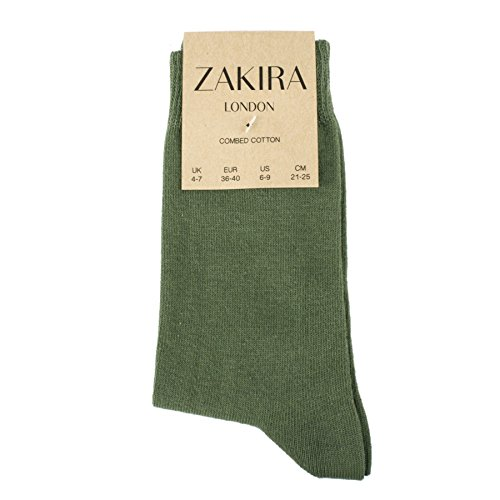 ZAKIRA Fines Chaussettes Élégantes en Coton Peigné à Couleurs Vives, pour les Femmes et les Hommes 2