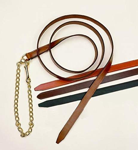 Tory Leather Single Ply Lead with Brass Plated Chain ()