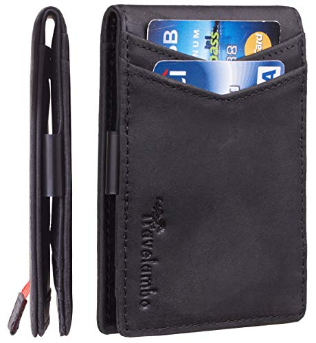 Travelambo Mens RFID Blocking Front Pocket Minimalist Slim Genuine Leather Wallet Pull Tab Money Clip (Crazy Horse - Id Clip Pocket Front Wallet