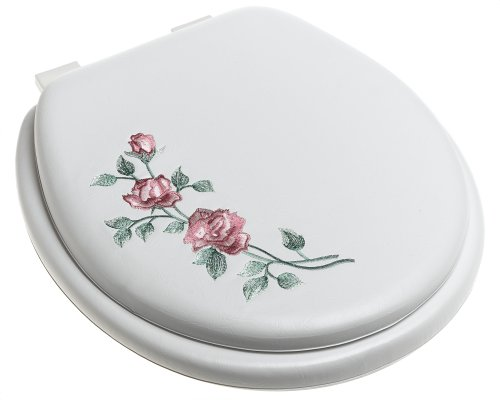 Soft Padded Toilet Seat - Ginsey Standard Soft Toilet Seat with Plastic Hinges, Rose Garden White