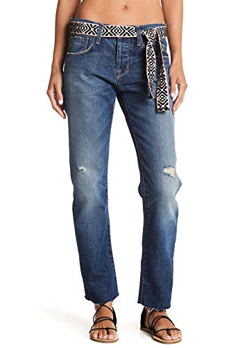 Current/Elliott The Crossover Straight Leg Jeans with Cut Hem for Women in Zephyr Destroyed, 26
