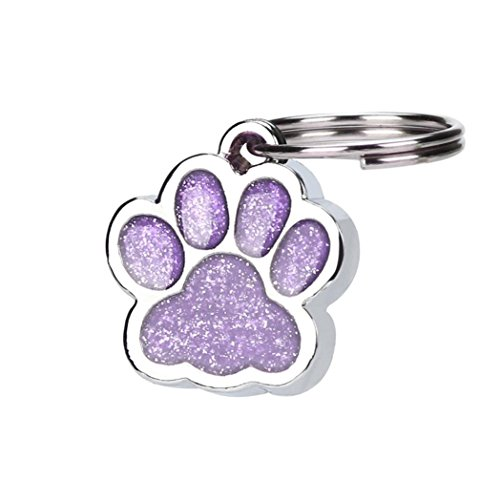 Creazy Personalised Engraved Glitter Paw Print Tag Dog Cat Pet ID Tags Reflective (Purple)